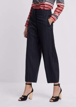 Emporio Armani Oversized Cropped Pants In Pinstriped Fabric