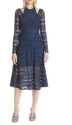 Tracy Reese Surplice Lace Midi Dress