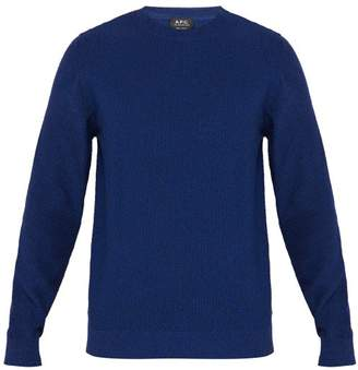 A.P.C. Brady Melange Knitted Cotton Blend Sweater - Mens - Blue