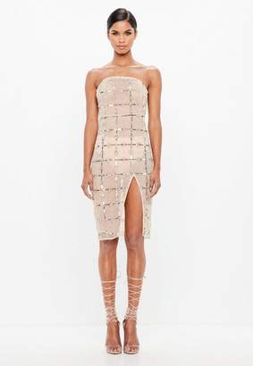Missguided Nude Grid Embellished Bandeau Midi Dress
