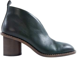 Celine Green Leather Boots