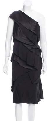 Donna Karan Satin One-Shoulder Dress w/ Tags