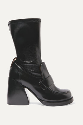 Chloé Adelie Glossed-leather Boots - Black