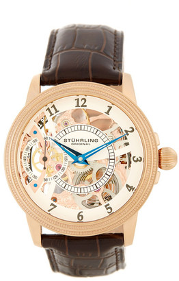 Stuhrling Men&s Brumalia Automatic Alligator Embossed Genuine Leather Strap Watch $239.97 thestylecure.com