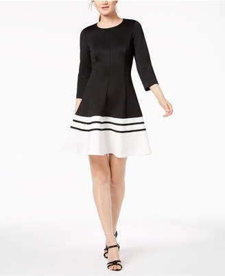 Calvin Klein Colorblocked Scuba A-Line Dress