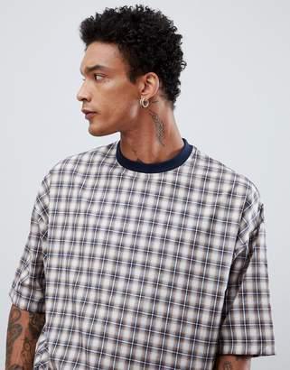 Asos DESIGN oversized woven check t-shirt