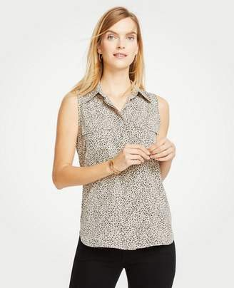 Ann Taylor Spotted Sleeveless Camp Shirt