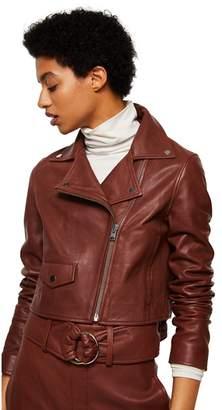 MANGO Brown Leather 'Bag' Biker Jacket