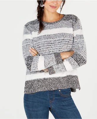 Style&Co. Style & Co Eyelash-Texture Striped Sweater