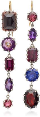 Renee Lewis 18K White Gold Amethyst Garnet Diamond Earrings