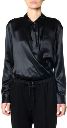 Alexander Wang Silk Charmeuse Long Sleeve Wrap Shirt Bodysuit