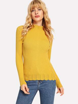 Shein Mock-neck Scallop Edge Rib Fitting Jumper