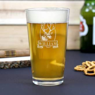 Monogram Online Custom Name Deer Beer Pint Glass, 16 oz
