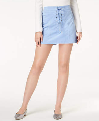 One Hart Juniors' Lace-Up Mini Skirt, Created for Macy's