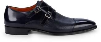 Mezlan Textured Leather Double Monk-Strap Dress Shoes