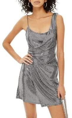 Topshop Drape Sequin Mini Dress