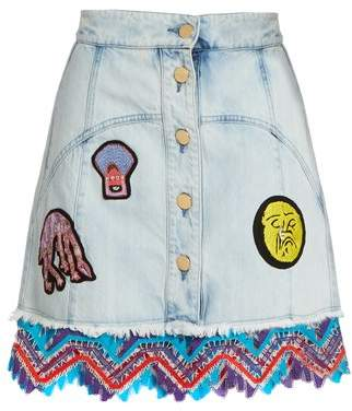 Peter Pilotto Amex X + Francis Upritchard Skirt - Womens - Light Denim