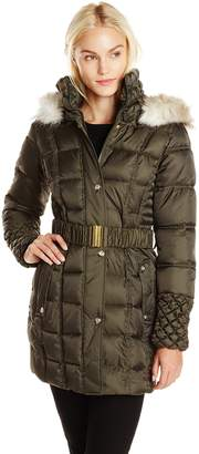 Betsey Johnson Women's Puffer Coat with Faux Fur Hood and Quilted Sleeve