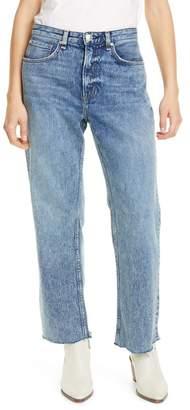 Rag & Bone Ruth Super High Waist Raw Hem Straight Leg Jeans (Ave)