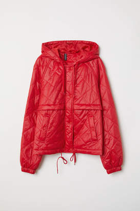 H&M Quilted Jacket with Hood - Red