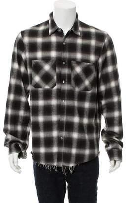 Amiri Distressed Plaid Flannel Shirt
