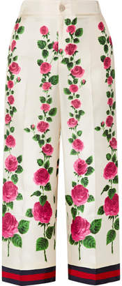 Gucci Cropped Grosgrain-trimmed Floral-print Silk-twill Wide-leg Pants - Ecru