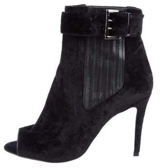 Just Cavalli Velvet Peep-Toe Ankle Boots