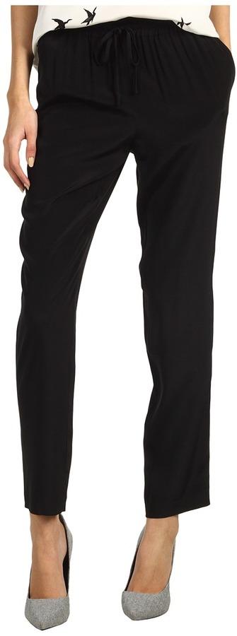Tibi Solid Silk Easy Pant (Black) - Apparel