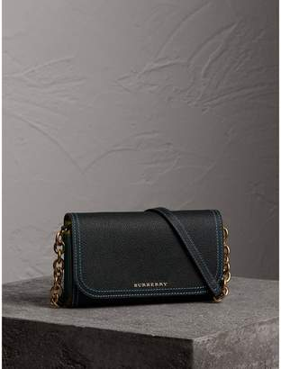 Burberry Topstitch Detail Leather Wallet with Detachable Strap