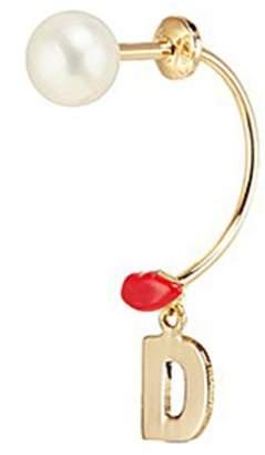 Delfina Delettrez 'ABC Micro Lips Piercing' freshwater pearl 18k yellow gold single earring - D