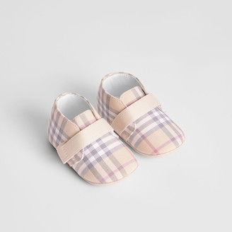 Burberry Check Cotton and Leather Shoes , Size: 17, Beige