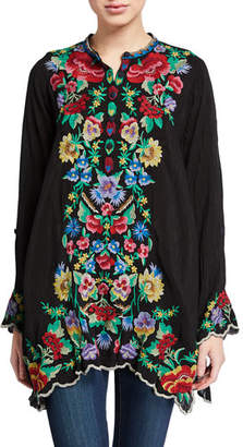Johnny Was Gala Floral Embroidered Long-Sleeve Tunic