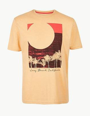Marks and Spencer Cotton Blend Sunset Print Crew Neck T-Shirt