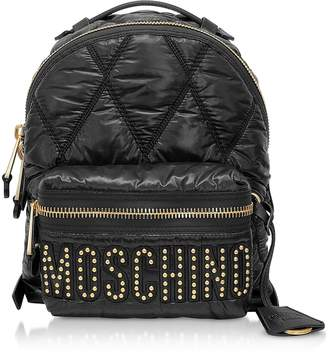 54ab4f6e98a Moschino Black Quilted Nylon Signature Backpack w/Gold Studs