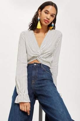 Topshop Petite Stripe Twist Crop Blouse
