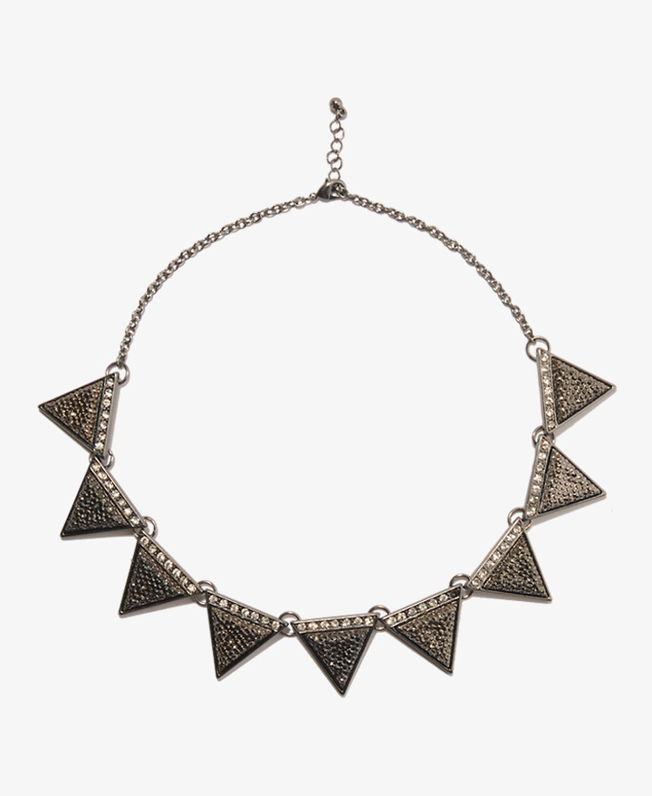 Forever 21 Rhinestoned Triangle Necklace