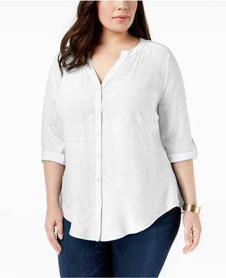 NY Collection Plus Size Tab-Sleeve Blouse