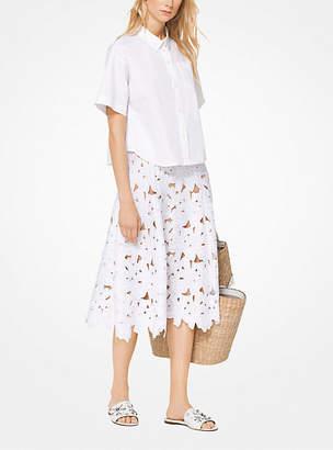 Michael Kors Cotton-Poplin Cropped Shirt