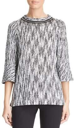 Misook Marled Chain Fringe Sweater