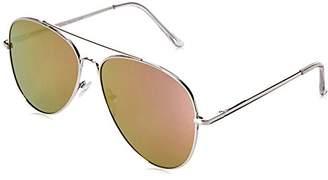 Zerouv Large Full Metal Color Mirror Teardrop Flat Lens Aviator Sunglasses