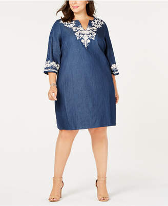 ECI Plus Size Cotton Embroidered Chambray Shift Dress