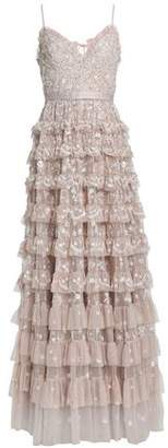 Needle & Thread Tiered Embellished Tulle Gown