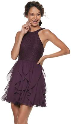 Speechless Juniors' Glitter Ruffled Halter Dress