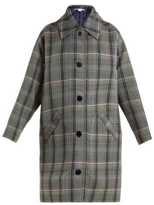 Stella McCartney Oversized Checked Wool Blend Coat - Womens - Grey Multi
