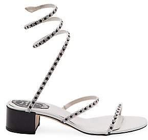 Rene Caovilla Women's Crystal Star Ankle-Wrap Block Heel Sandals