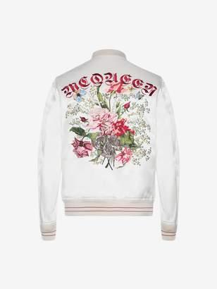 Alexander McQueen Embroidered Skull and Flower Bomber Jacket