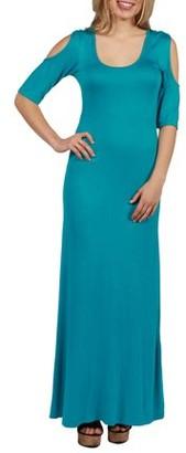 24/7 Comfort Apparel 24Seven Comfort Apparel Meg Cold Shoulder Maxi Dress