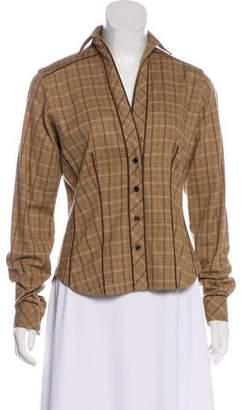 Byron Lars Plaid Long Sleeve Button-Up