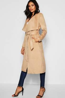 boohoo Tall Shawl Collar Belted Wool Coat