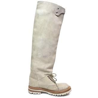 Rick Owens Beige Suede Boots